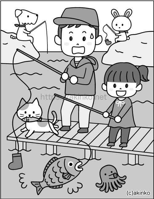 ぐんぐん脳活ドリル2020年_親子で魚釣り