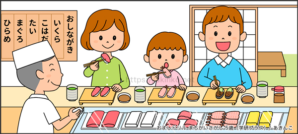 おすしドリルまちがいさがし5歳「カウンターお寿司屋さん」